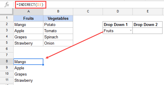 Dependent Drop Down List in Google Sheets - Indirect