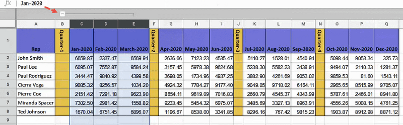 Minus icon to collapse the columns in Google Sheets