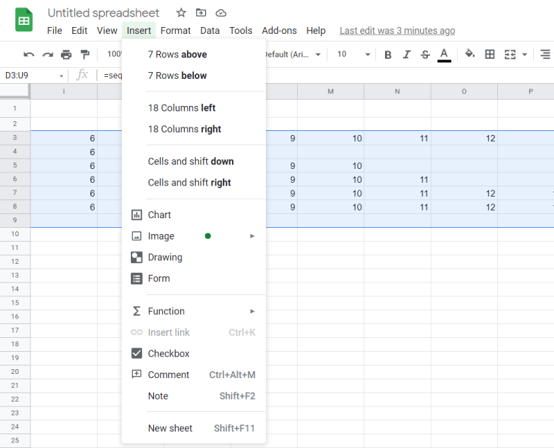 """Select the """"Clicks"""" data and then click on Insert -> Chart."""