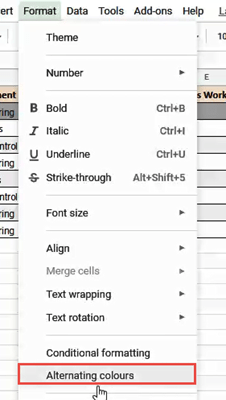 click 'Alternating colours' from the 'Format' menu.