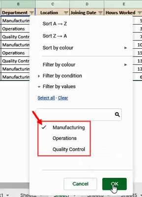 Select the value(s) that you want included in your filter, and deselect the values that you don't want included