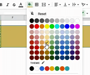 select these rows, and change highlight them by selecting the 'Fill color' button: