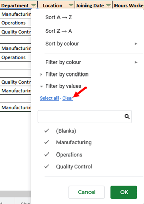 Click on the 'Clear' link from the dropdown that appears