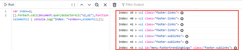 In the output area, you should see a series of indexes that look like this