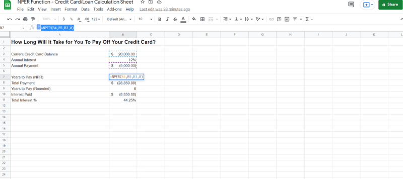 From those manual variables, we have created our Google Sheets NPER function