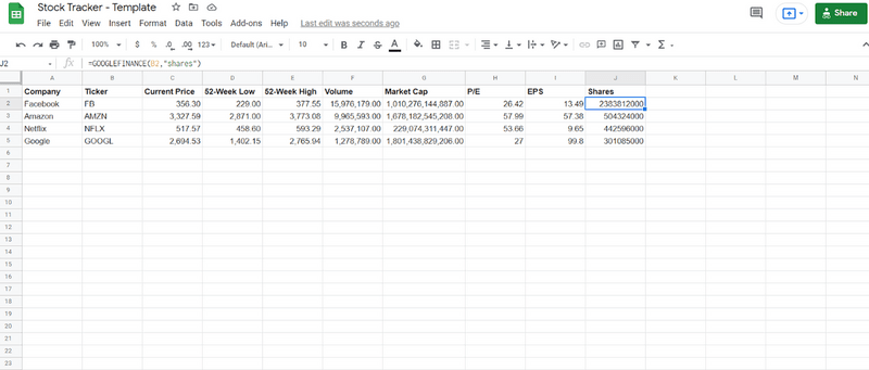 Stock tracker template with more info included