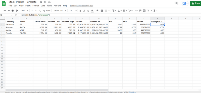 Google Sheets stock tracker with Change PCT field