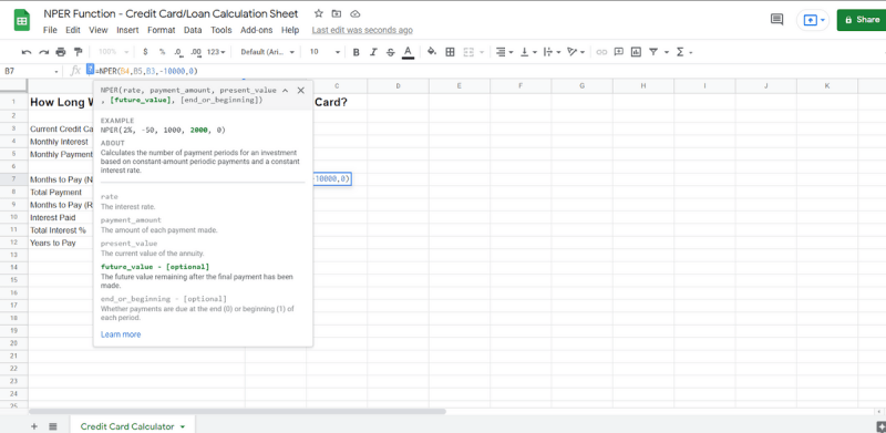 Calculating a Partial Pay-Off With Google Sheets NPER