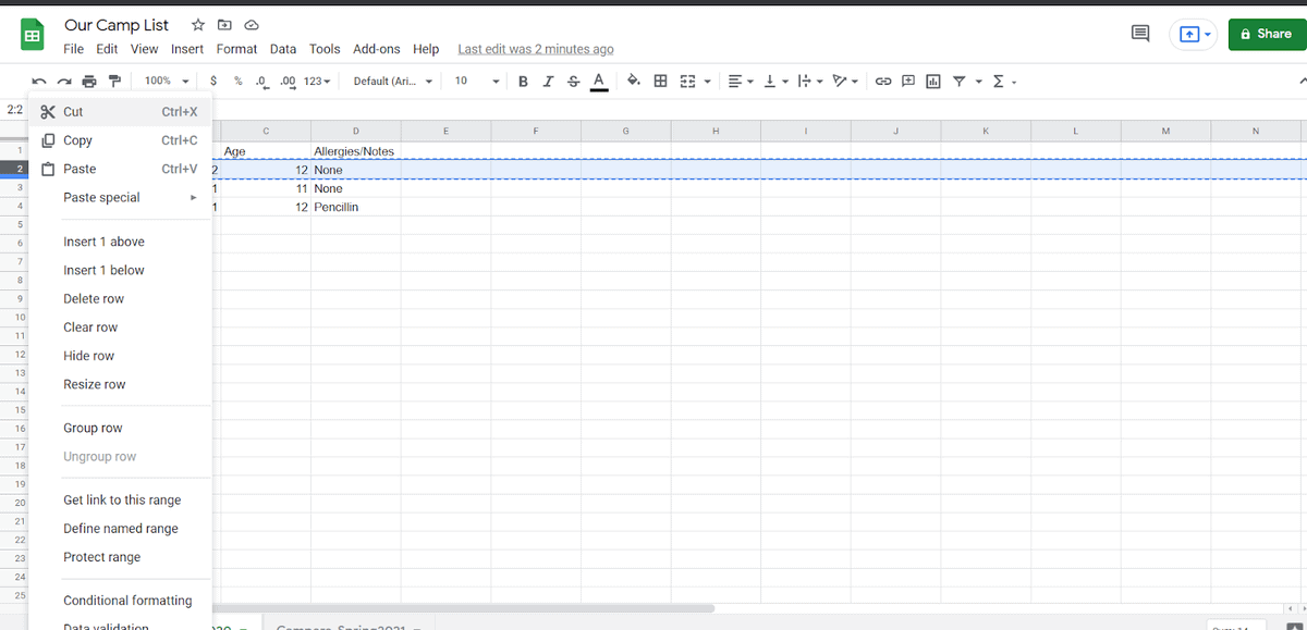 How to Cut and Paste Multiple Rows in Google Sheets